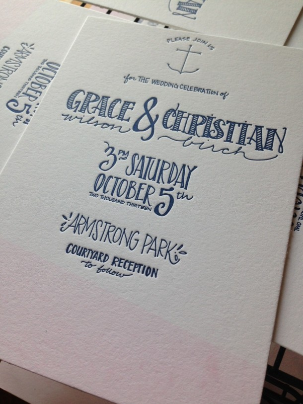 Nautical Letterpress Invitation